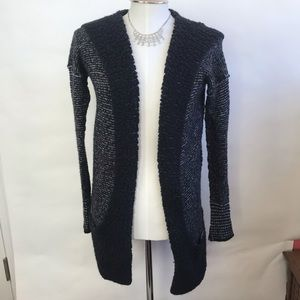Anthro Ecoté Black Warm Hooded Pocketed Cardigan